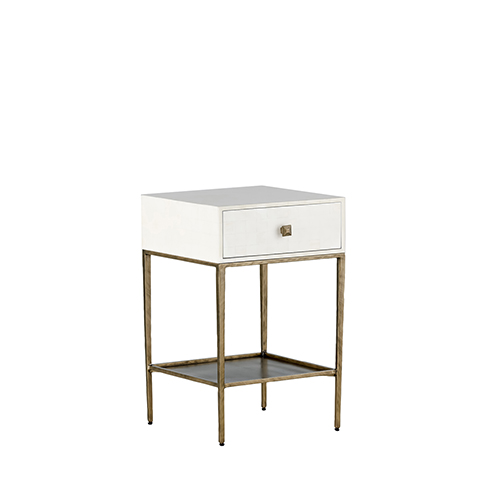 May Faux Bone and Brushed Brass Side Table