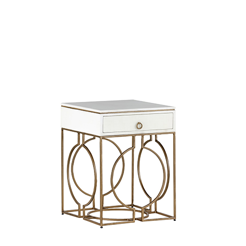 Gabby Home Cedric Faux Bone And Brushed Brass Accent Table
