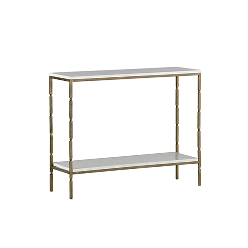 Gabby Home Bryson White Seagrass and Brushed Brass Console Table