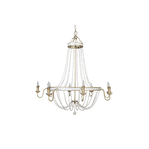 Gabby Home Corinna Champagne Silver and Antique White Eight-Light Chandelier