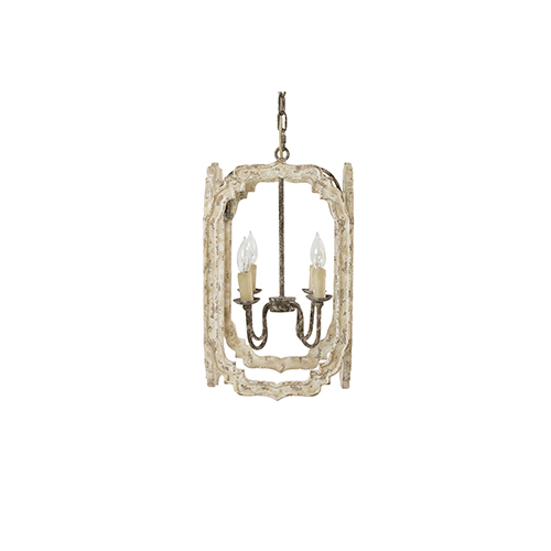 Gabby Home Gwinnett Chipped Cream and Rust Four-Light Lantern Pendant
