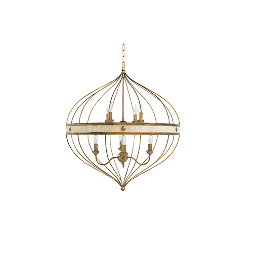 Sasha Antique Gold Leaf and White Faux Horn Eight-Light Pendant