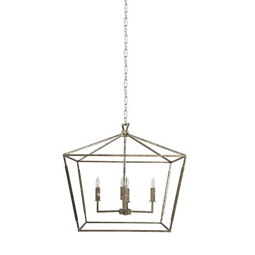 Amelia Antique Silver Leaf Four-Light Pendant