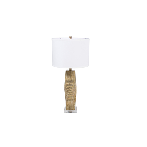 Gabby Home Anselm Champagne Silver with White Linen One-Light Table Lamp