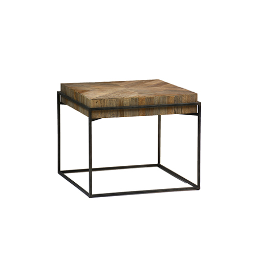 Carlyle Recycled Elm and Black Metal Side Table