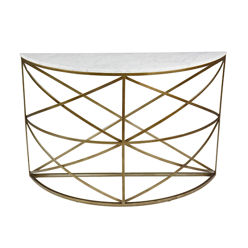 Gibson White Marble and Light Bronze Metal Console Table