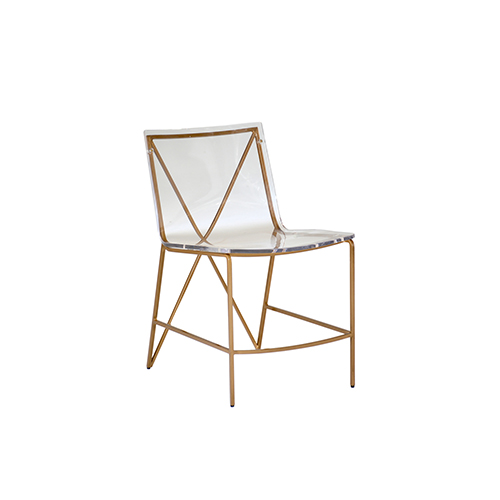 Gabby Home Johnson Antique Gold and Antique Silver with Clear Acrylic Dining Chair
