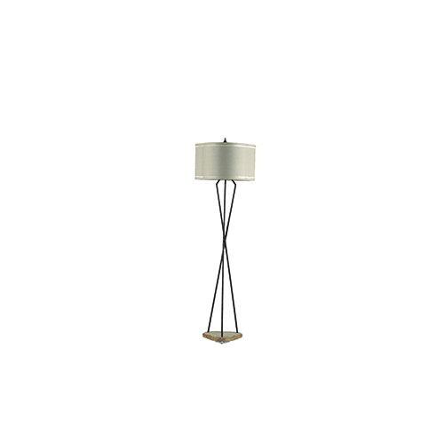 Miranda Rusted Iron Autumn Brown with Beige Linen One-Light Floor Lamp