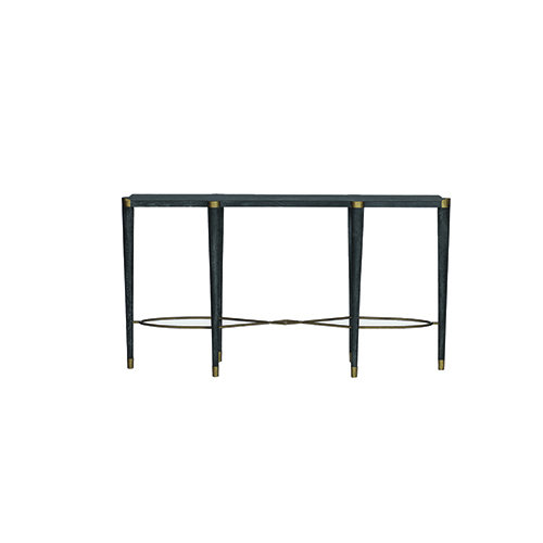 Fiona Black Cerused Oak and Antique Brass Console Table