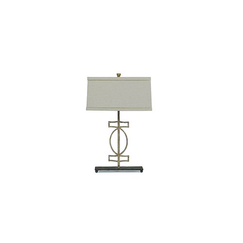 Annette Antique Gold and Rusty Black with Beige Linen One-Light Table Lamp