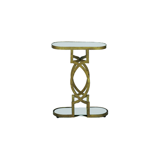 Natasha Antique Brass and Mirror Accent Table