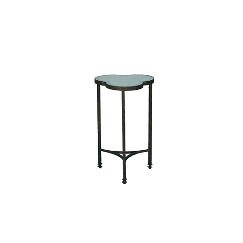 Gabby Home Walter Textured Bronze and Antique Eglomise Mirror Side Table
