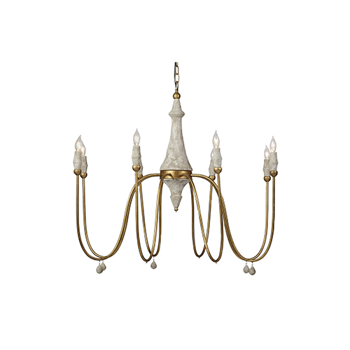 Clay Vintage Gold and Distressed Ivory Eight-Light Chandelier