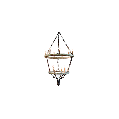 Joselyn Muslin and Rust Fifteen-Light Chandelier