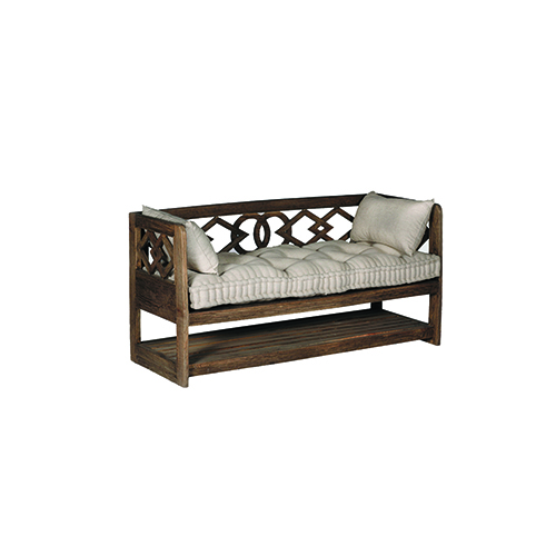 Modena Natural Mindy and Beige Linen Bench
