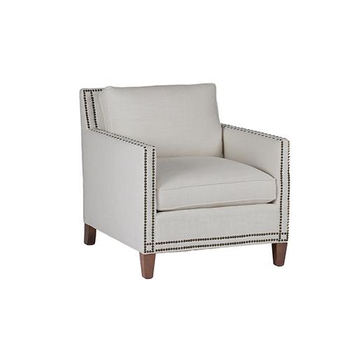 Gabby Home Carter Linen Dove Chair with Antique Brass