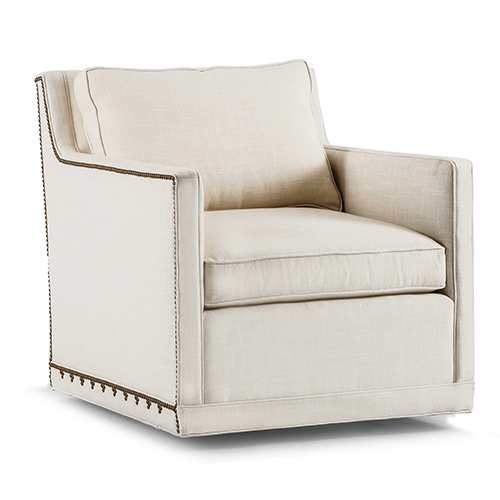 Nora Cream Nailhead Swivel Chair