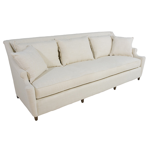 Gabby Home Theo Walnut 8-Foot Bench Cushion Sofa