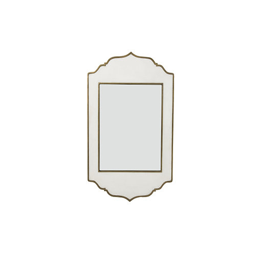 Gabby Home Villa White Resin and Brushed Brass 26-Inch Mirror