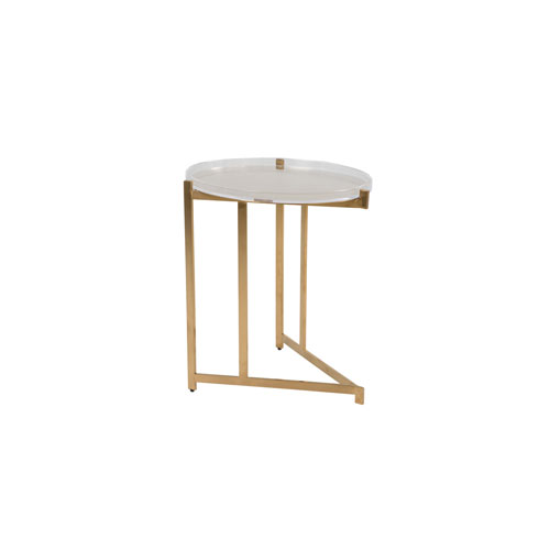 Gabby Home Skylar Clear Acrylic and Stainless Gold 23-Inch  Tray Table