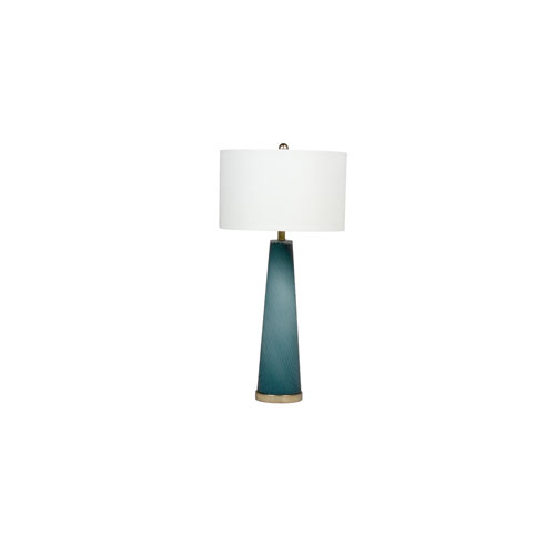 Gabby Home Brianna Blue Hand-Cut Glass and Champagne 17-Inch One-Light Table Lamp