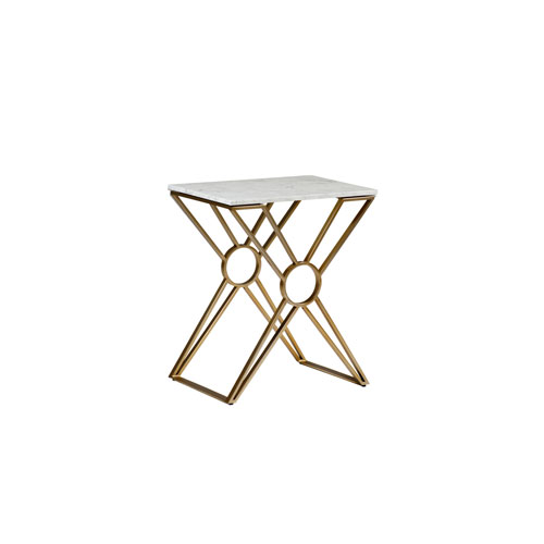 Gabby Home Tara Brushed Gold And White Marble Inch Side Table Sch - Brushed gold side table