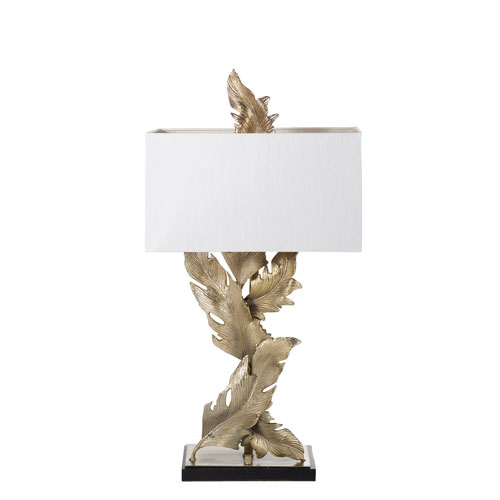 Gabby Home Florian Rubbed Brass and White Silk 11-Inch Two-Light Table Lamp