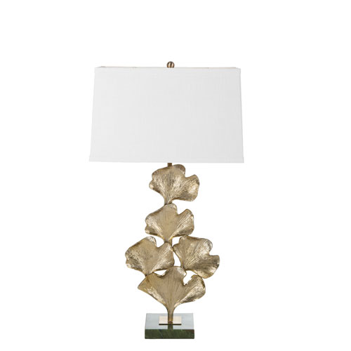 Ginkgo Rubbed Brass and Green Jade 6-Inch One-Light Table Lamp