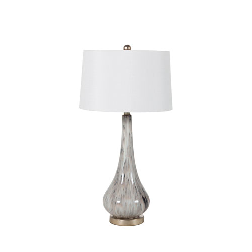 Powell Light Gray Flower Glaze and Champagne Silver 8-Inch One-Light Table Lamp