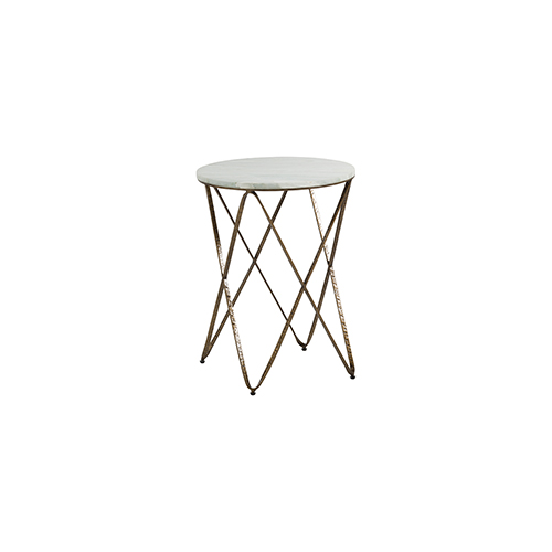 Gabby Home Phoenix Vintage Gold and Feather Green Marble 18-Inch Side Table