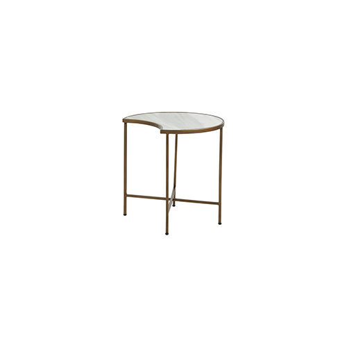 Gabby Home Sibyl Brushed Brass and Feather Green Marble 20-Inch Coffee Table