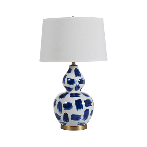 Luca Blue and White Painted Ceramic and Antique Brass 10-Inch Table Lamp
