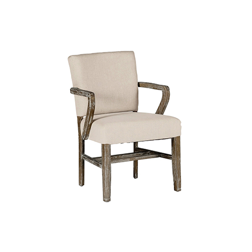 Wylie Burnished Oak and Linen Dove Sunbrella Fabric Dining Chair