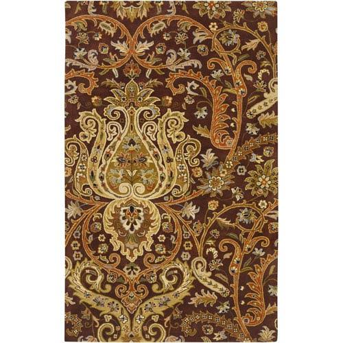 Surya Ancient Treasures Chocolate and Gold Rectangular: 5 Ft. x 8 Ft. Rug