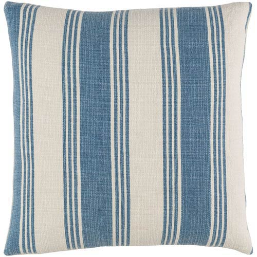 Surya Anchor Bay Cobalt and Ivory 20-Inch Pillow with Down Fill