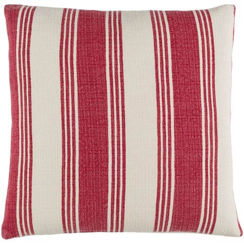 Anchor Bay Burgundy and Ivory 20-Inch Pillow with Poly Fill