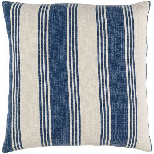 Surya Anchor Bay Navy and Ivory 20-Inch Pillow with Poly Fill