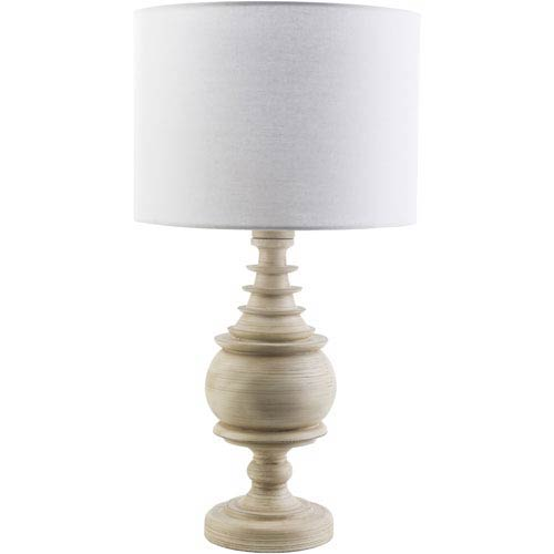 Surya Acacia Antique White One-Light Table Lamp with White Shade
