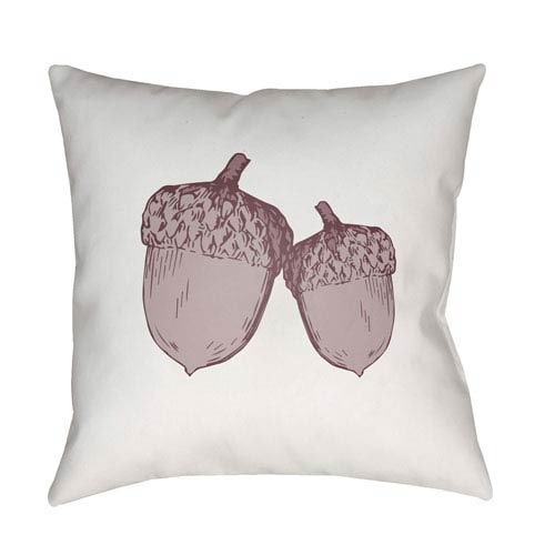 White Acorn 18-Inch Throw Pillow with Poly Fill