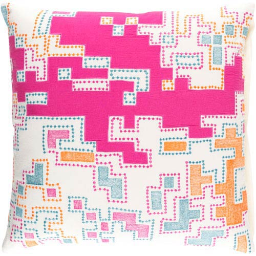 Macro Magenta and Ivory 20-inch Pillow with Down Fill