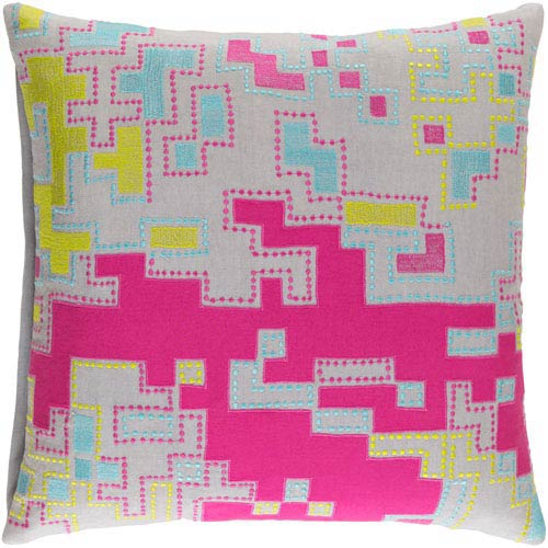 Macro Hot Pink and Light Gray 20-Inch Pillow with Down Fill