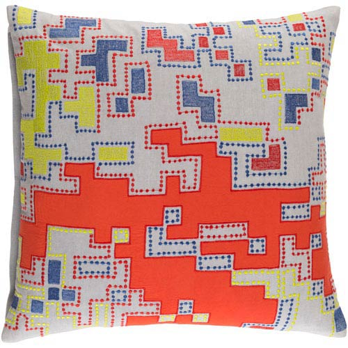 Macro Rust and Light Gray 20-Inch Pillow with Down Fill