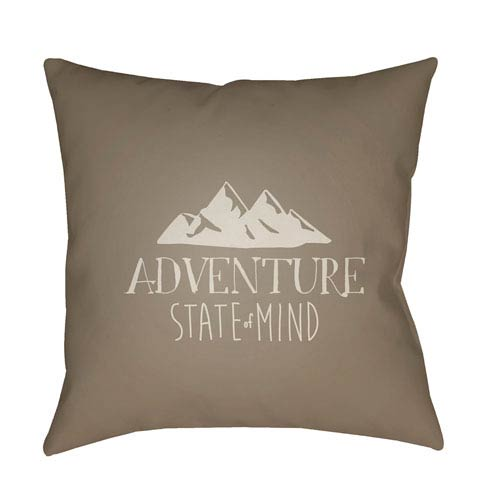 Adventure III Brown and Beige 18 x 18-Inch Throw Pillow