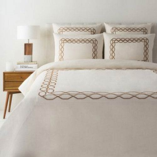 Afia Cream and Tan King Three-Piece Duvet Set