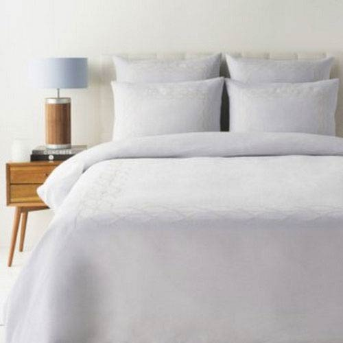 Afia Lavender and White King Three-Piece Duvet Set