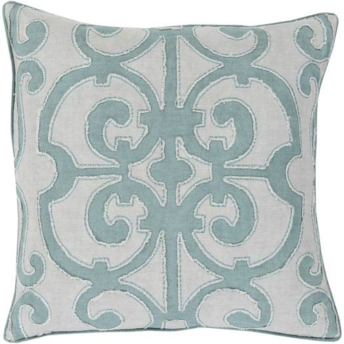 Amelia Blue and Gray 20-Inch Pillow Cover