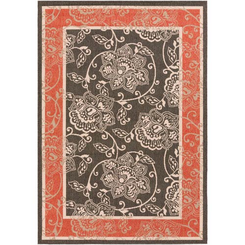 Alfresco Black and Cherry Rectangular: 2 Ft 3 In x 4 Ft 6 In Rug