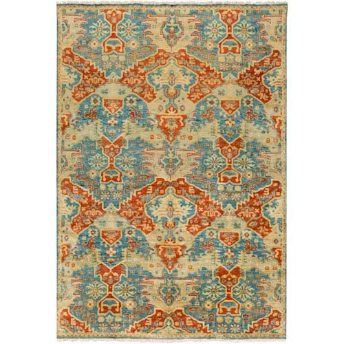 Antolya Teal and Rust Rectangular: 2 Ft x 3 Ft Rug