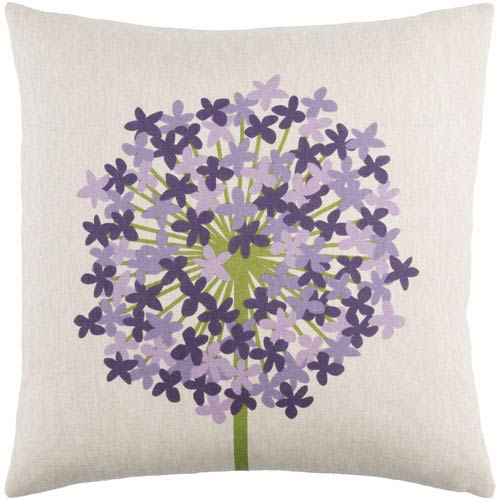 Agapanthus Green and Purple 18-Inch Pillow with Poly Fill