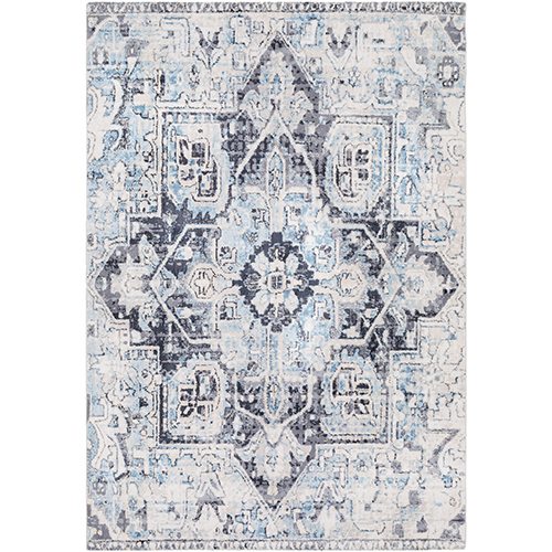 Apricity Sky Blue and Ivory Rectangular: 5 Ft. 3 In. x 7 Ft. 6 In. Rug